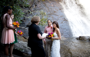 Our 1st Wedding: Silver Run Falls, NC. July 14, 2012 Just us & our girls. Married again 7 weeks later with all the fam and friends.