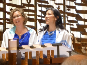 Sandra and Heidi reading from The Torah at their bat mitzvah, almost 40 years after most Jewish girls undertake this ritual.
