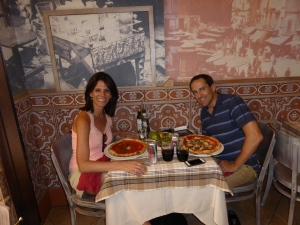 Fighting back against jet lag with our first pizza in a Rome cafe.