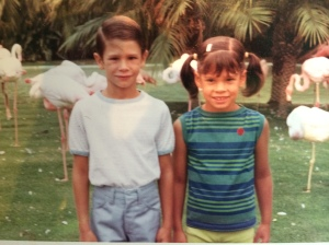 With my brother at San Diego Zoo, about the time he informed me that I wasn't born.
