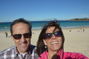 Winter for them Down Under, but mild temps meant perfect day to hit world famous Bondi Beach.