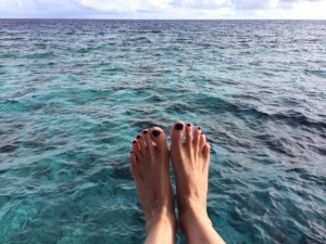 Blue ocean waters here truly clearer than any swimming pool I've ever seen.